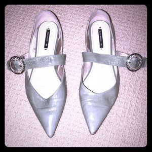 Zara grey embellished pointed flats